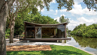 The exterior of the Cocoon House in Sarasota, Florida.