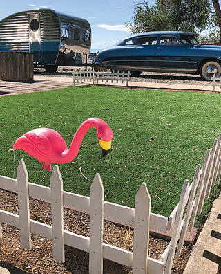 A plastic flamingo near Route 66.