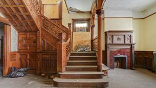 The staircase inside the Rufus Rose house.