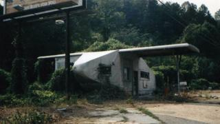 The airplane filling station before it was restored.