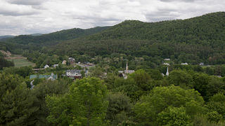 View of treetops and buildings in Royalton, Vermont, from Route 89.