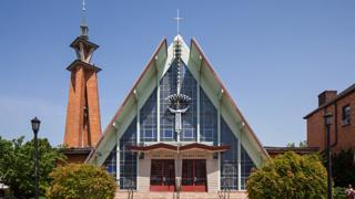 Architect Jonas Mulokas specialized in Lithuanian Catholic churches and designed this one in Maspeth, Queens.
