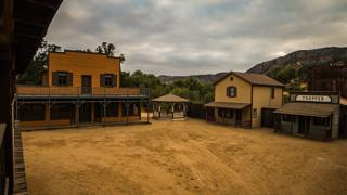 Paramount Ranch's Western Town's square before it was destroyed in a fire.