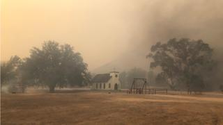 The chapel at Paramount Ranch's Western Town during the Woolsey Fire.