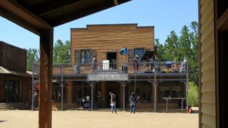 A crew prepares to film in Paramount Ranch's Western Town.