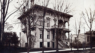A historic photo of an Italianate structure in Brush Park, Detroit.