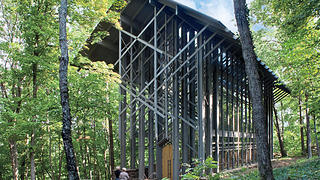 The exterior of Thorncrown Chapel.