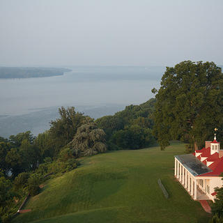 Exterior of Mount Vernon with an emphasis on the viewshed of the Potomac River and Piscataway National Park.