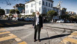 Norm Larson at the intersection of Haight and Ashbury, San Francisco, California