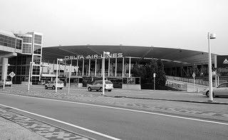 Recent black and white photo of the Delta Air Lines terminal at Pan American Worldport.