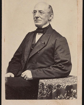 Portrait of famous abolitionist William Lloyd Garrison, circa 1870.