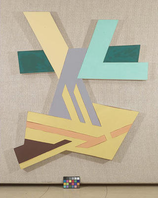 "Frank Stella's ""Lanckorona II,"" a mixed-media painting including fabric, felt, and acrylic on canvas."