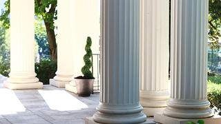 White, freshly painted columns at the Herndon Home in Atlanta.