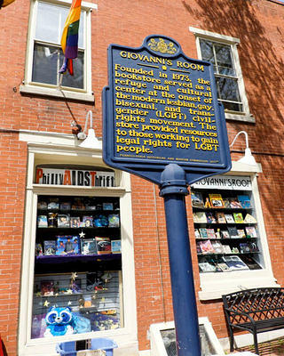 "Giovanni's Room promotes its history with a sign that describes the following: ""Founded in 1973, the bookstore served as a refuge and cultural center at the onset of the modern lesbian, gay, bisexual, and transgender (LGBT) movement. The store provided resources to those working to gain legal rights for LGBT people."""