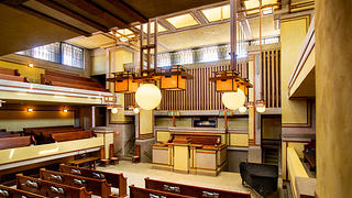 The interior of Unity Temple.