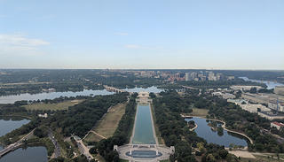 A view of the Lincoln Memorial from the Washington Monument.