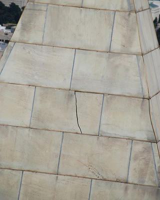 A crack in the Washington Monument.