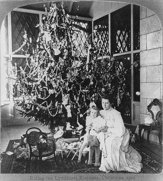 A 1905 stereograph image featuring Helen Gould and her niece during Christmastime.