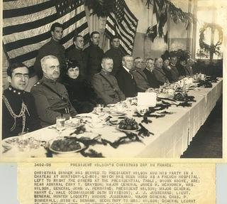 An image of President Woodrow Wilson during a dinner in France in December of 1918.