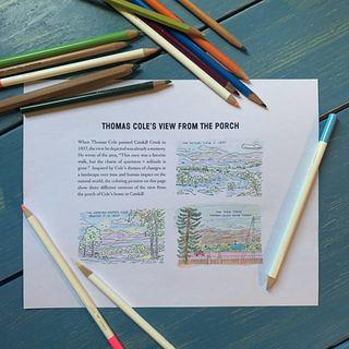 Thomas Cole National Historic Site. Coloring by Betsy Jacks and Olivia Lichens.