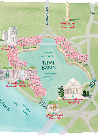 A map of the Tidal Basin.