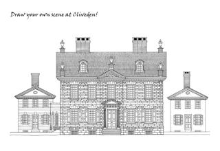 Image of one of Cliveden's activity sheets, which features a black and white sketch of the house to be colored in.