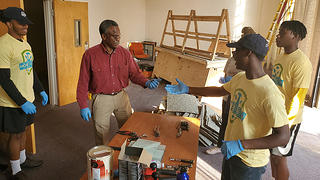HOPE Crew Preservation Practicum participants learn to restore windows at Tuskegee University