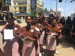 "Students from Shrishti Vidyashram Higher Secondary school explore their community during an activity from the Observe program."" Vellore India. 2018."
