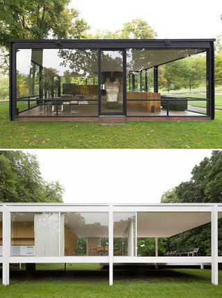 Interior view of Farnsworth House and the Glass House for the Side by Side exhibition
