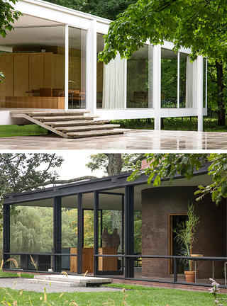 Exterior shots of the stairs at both Farnsworth House and the Glass House for the exhibition Side by Side.