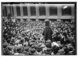Emmeline Pankhurst made multiple speaking tours across the United States on behalf of the suffrage cause, including this tour in 1911, drawing in crowds with her public soapbox lectures.