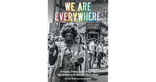 Image of the book cover shows a black and white photo two women in a downtown area with the book's title in rainbow lettering above them.