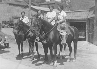 Four of the Packhorse librarians ready for the day's work.