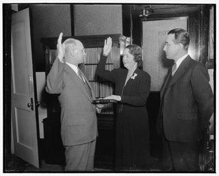 Mrs. Ellen S. Woodward, former Assistant WPA Administrator, being sworn in as a member of the Social Security Board on December 30, 1938.