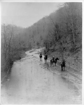 Pack Horse Librarians start down Greasy Creek to remote homes of mountaineers anxious for books.