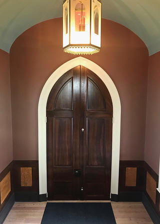 The interior of the restored vestibule at Lincoln's Cottage.