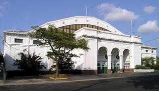 The exterior of a former Michigan State Fairgrounds building.