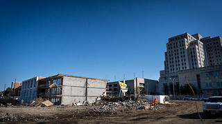 Exterior view of the demolition of the iconic  Sun-n-Sand Hotel.