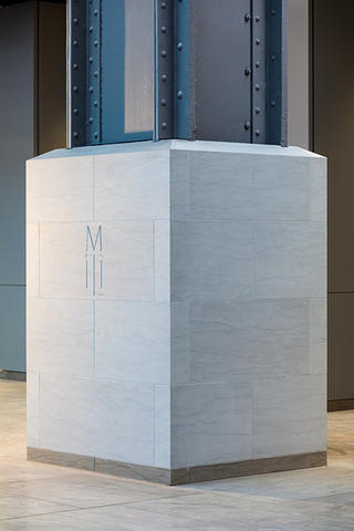 One of the original Steel Columns in Covelano Silver marble.