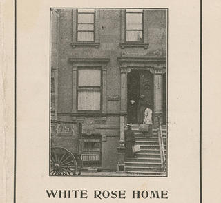 Cropped view of a pamphlet that included an exterior view of the White Rose settlement building.