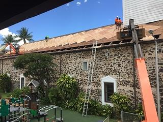 A construction crane outside the Mokuaikaua Church as part of a restoration project.