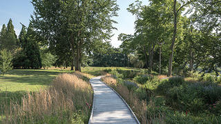 A boardwalk at the Florence Griswold Museum.