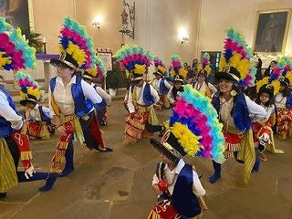 A view of the Matachine dancers at Mission Concepción. These performers express prayer through dance every December at the mission.