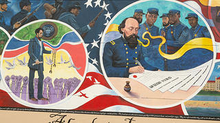 A detailed view of the mural Absolute Equality. These two circles feature Black soliders fighting for freedom, Abraham Lincoln removing shackles while hands are raised towards him, and the reading of General Order 3 in Galveston.