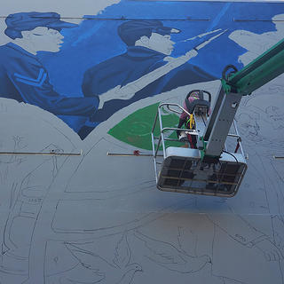 View of Absolute Equality as it is being painted in Galveston, Texas.