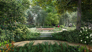 The Coltrane Home meditation garden celebrates the native forest ecology while providing unique spaces in which to discover moments of serenity. Courtesy Nelson Byrd Woltz Landscape Architects.