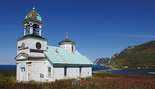 The exterior of the Karluk Russian Orthodox Chapel.