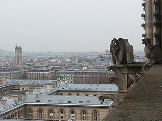 A gargoyle made of stone sits surveying over the city of Paris in 2013. The sky is slightly overcast and the buildings below are a speckled color of brown and gray.