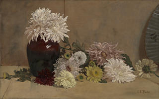 An image of a painting with a pale tan background and a maroon vase of peonies on a table. A pile of other flowers in yellow, white, and pale pink lie next to the vase.