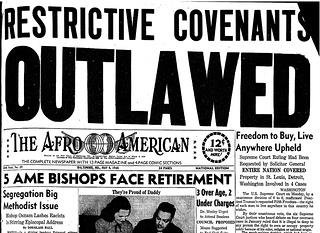 A scan of a headline that states the outlawing of restrictive covenants from the Afro American a Baltimore Newspaper. The paper is dated May 1948.